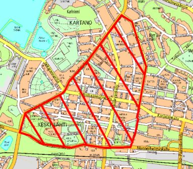 Kartta, johon on merkitty punaisella Lahden keskustassa Mannerheiminkadun, Lahdenkadun, Hollolankadun ja Saimaankadun rajaama alue, jonka sisäpuolella on voimassa ilotulituskielto.